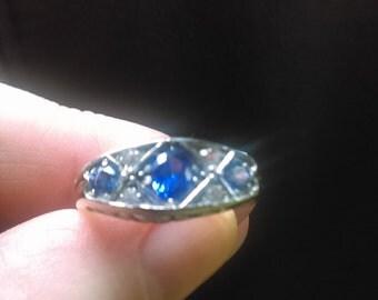 Vintage Edwardian Style Wedding Ring- Antique Sapphire Ring