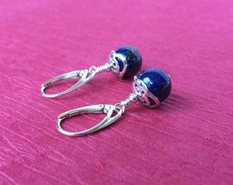 Lapis Lazuli and Silver Celtic Earrings