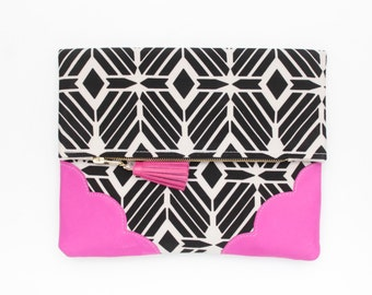 Graphic cotton clutch bag. Fold over clutch. Leather handbag. Monochrome print. Neon natural leather. Black and white handbag. /GRAPHIC 138