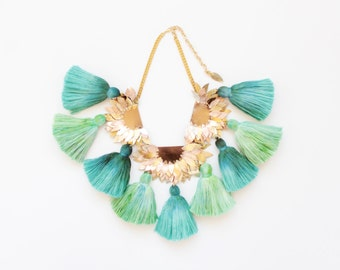 STARDUST / Large leather & dyed cotton statement necklace - one of a kind - Ready to Ship