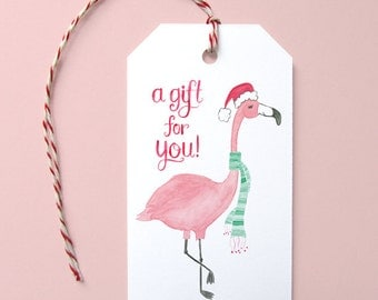 Flamingo Holiday Gift Tags -Set of 10 Gift Tags, Flamingo Gift Tags, Cute Holiday Wrapping, Christmas Tags, Xmas Gift Tags, Holiday Flamingo