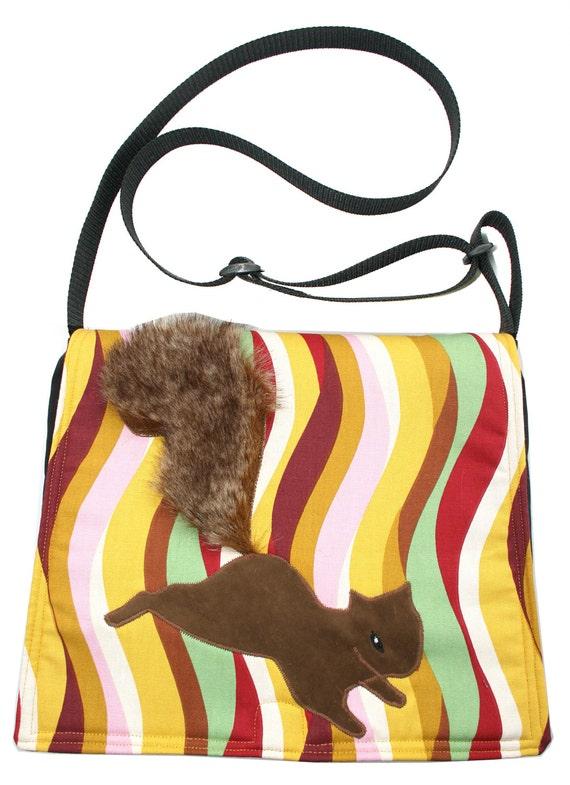 SALE!! Squirrel on wavy pattern, Messenger bag