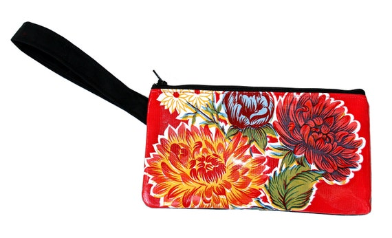 Red, floral oil cloth, wristlet, flat bag, small bag