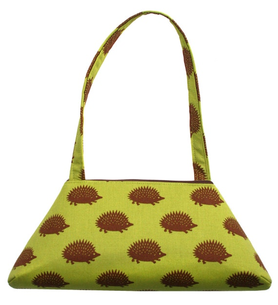 SMALL Retro Tote, hedgehogs, green, structured bag, vintage inspired