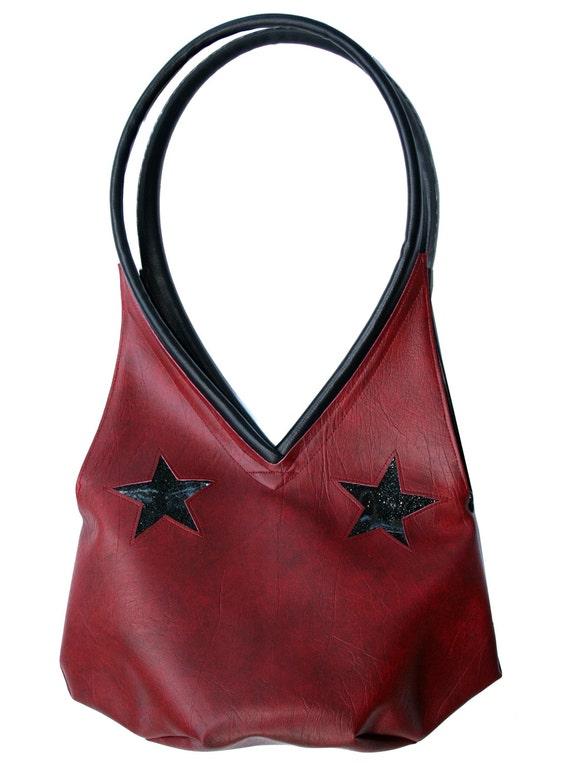 Stars, dark red, glitter vinyl, black, tear drop, vegan leather, shoulder bag