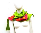 Lime Green Silk Viscose Nuno Felted Long Scarf