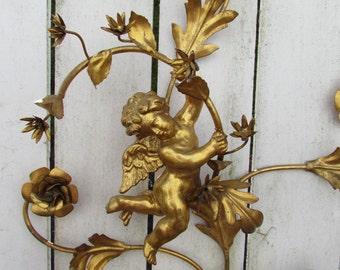Vintage Italian Florentine Tole Gold Cherub Putti Sconce Wall Candelabra LARGE