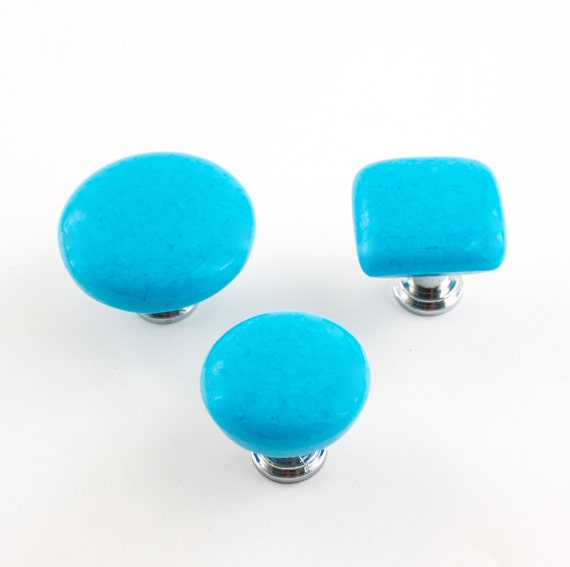 Turquoise knobs fused glass cabinet hardware cottage for Turquoise door knobs