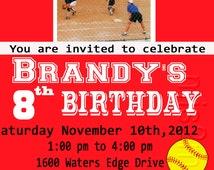 Softball Theme Party Printable Ticket Invitations, Adult softball Theme Party One Hour Photo Card, Birthday Ticket Invitaciones de Beisbol