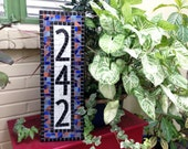 Vertical Address Sign, Colorful Mosaic House Number Plaque