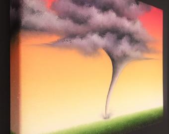 Twister Oil Painting, Surreal Tornado Wall Art, Bad Weather Landscape Painting, Severe Weather Art, Tornado Art, Tornadic Home Decor, 8x10
