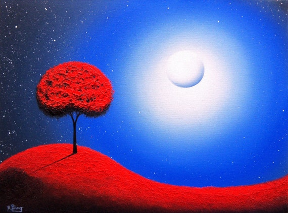 Surreal Art Print of Oil Painting, Blue Nightscape Canvas Art Print, Large Artwork, Print of Red Tree Landscape Painting, 16x20, 24x30