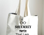 Harry Potter Tote Bag Large, I solemnly swear that I am up to no good Tote, Canvas Grocery Bag, Fan Bag / Book Tote / Beach / Funny / Canvas