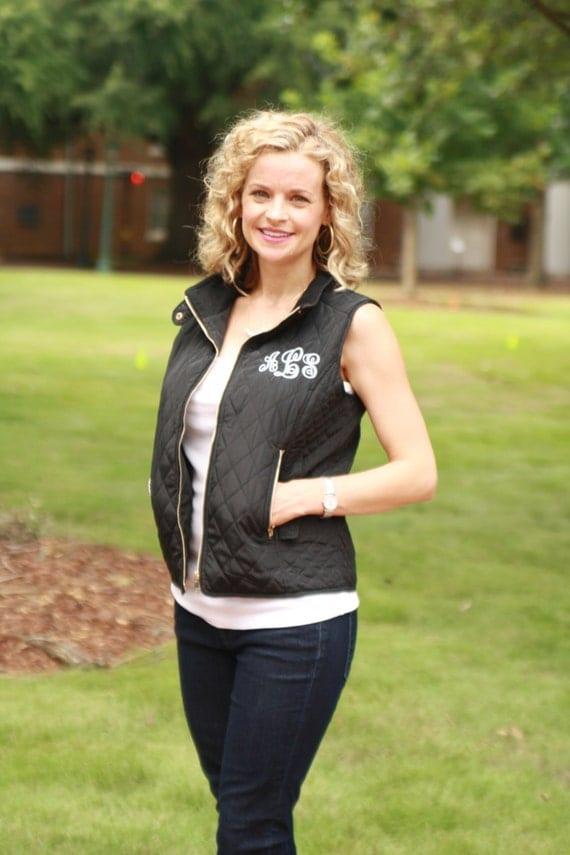 Monogrammed Vest- Black Quilted Vest with Pocket or Back Initials, Ladies Monogrammed Quilted Vest, Womens Monogram Vest
