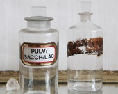 Pair of Large Vintage Apothecary Bottles Jars - Science decor