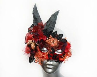 Red Mask Butterfly Headpiece, Autumn Acorn Mask, Halloween Costume Accessories, Forest Fairy Mask