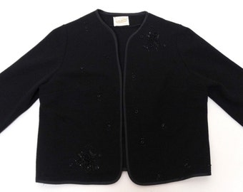 Vintage 50's Women's KOLDIN ORIGINAL Cropped Jacket Open Front Wool Bead Embellished
