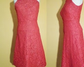 Vtg 60s HOT PINK Lace Slim Dress with SPORTY Top, Small to Medium