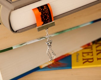 Magic Halloween Ribbon and Lace Bookish Bookmark with Cat and Cauldron Silver Charm - witching hour