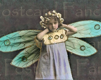 ADORABLE Real Photo France of Little Girl with BUTTERFLY wings, Art Nouveau DIGITAL Download