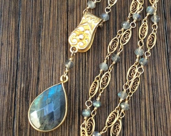 RESERVED for WBA - Antique Edwardian Watch Fob Clip Labradorite Necklace, Detachable Clip, 14K GF Filigree Labradorite Chain