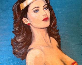 Original painting of Lynda Carter as Wonder Woman