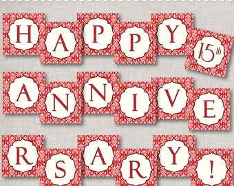 Instant Download 15th Anniversary Banner - Ruby Red - printable PDF