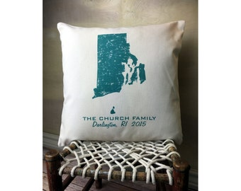 Rhode Island State Pillow Cover Personalized with Your Family Name, Hometown and State Name