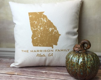Georgia Pillow, State Pillow, Personalized  State Pillow, Family Name Pillow, Custom State Pillow, Georgia Gift, Housewarming Gift