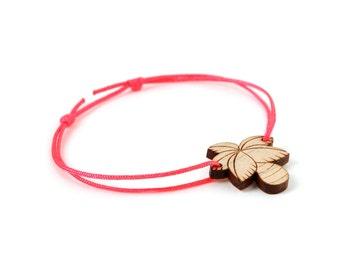 Palm tree bracelet - 25 colors - palmtree bangle - adjustable length - lasercut maple wood - graphic beach - summer jewelry - unisex