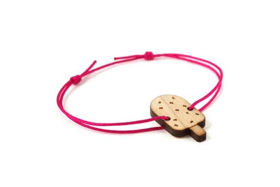 Ice cream bracelet - 25 colors - graphic food bangle - adjustable length - lasercut maple wood - minimalist jewelry - unisex - customizable