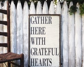 Gather Here With Grateful Hearts Rustic Distressed Farmhouse Style Framed Wood Kitchen Dining Room Sign 18x30