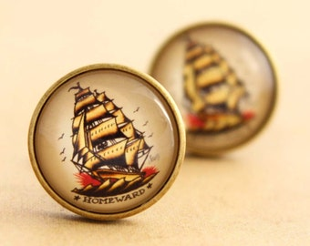 Sailor Jerry Cufflinks - Mens Nautical, Rockabilly Cufflinks, Modern Cufflinks, Ship Cuff Links, Vintage, Wedding, Groom, Bronze