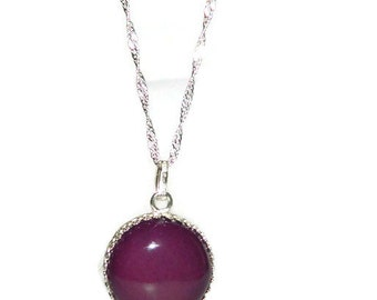 Pendant Necklace, Sterling Silver Chain, Necklace With Large Pendant, Cabochon Necklace