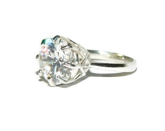 Anniversary Ring, Sterling Silver, 10 Carat Stone