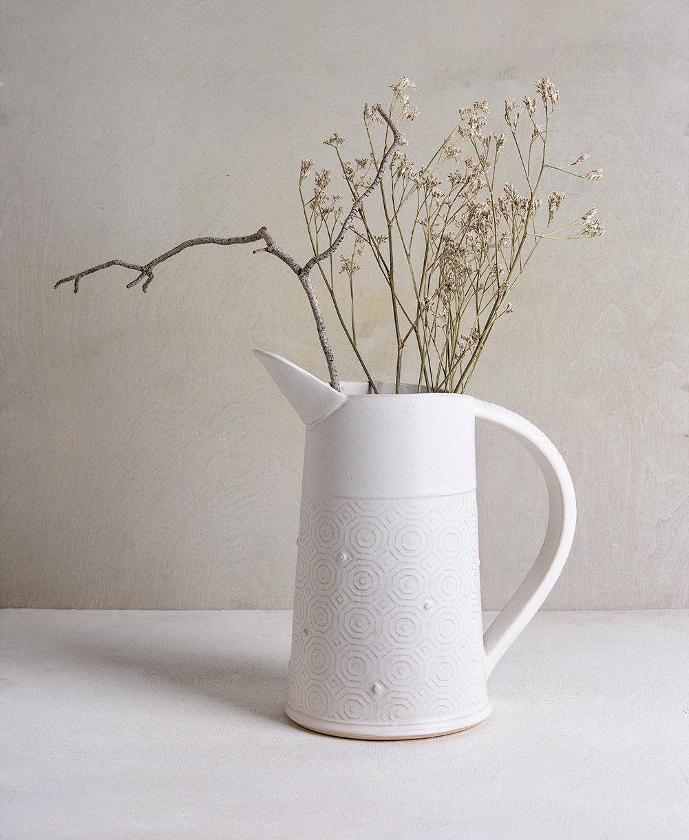 Decorative Jugs And Vases White Ceramic Vase Geometric Flower Vase Ceramic Design