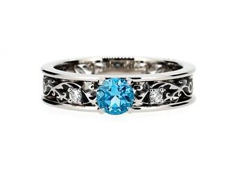 swiss blue topaz ring filigree diamond ring topaz engagement white gold - Blue Topaz Wedding Rings