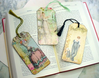 Wood Tag Book Marks, Beautiful Ladies Bookmarks, Decoupoge Bookmarks, Bookmarkers, Vintage Style, Paper Bookmark, Book Lover, Ornaments