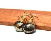 Gold bohemian jewelry, gypsy jewelry, pyrite earrings, bohemian earrings, boho chic jewelry, gold boho earrings