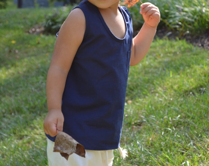 Unisex Navy Blue Tank Top, Size Medium, Organic Cotton, Toddler Clothes, Summer Clothes for boys