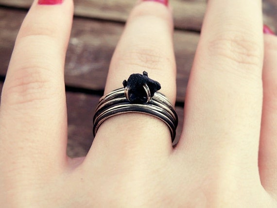 Stacking ring set Black onyx ring stackable rings by MisMundos