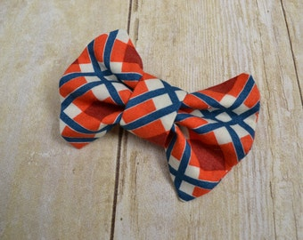 Bow Tie - Bow Ties - Infant Bow Tie - Clip On Tie - Plaid Bow Tie - Plaid - Orange Blue Tie Wedding Tie