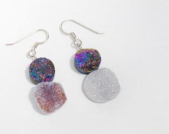 Purple Druzy Quartz Earrings on Sterling Silver