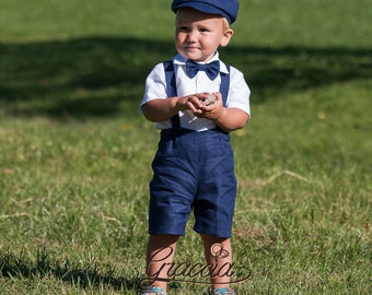 Newsboy ring bearer outfit baby boy linen suit shorts with suspenders newsboy hat boy baptism beach wedding formal wear photo prop navy blue