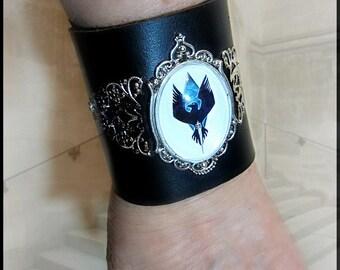 Womens Raven Cuff Black Leather Bracer
