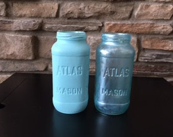 Turquoise Metalic Mason Jar Vase, Baby Shower Mason Jars, Nursery Decor, Home Decor, Office Decor, Bathroom Decor, Hand Painted Mason Jar