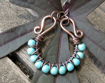 Beaded hoop earrings - turquoise stones copper wire wrapped