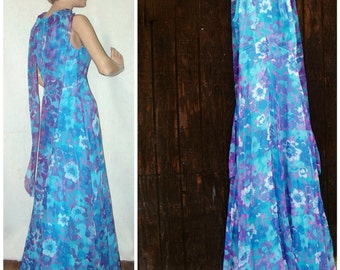 VINTAGE Blue Chiffon Formal Dress 60s 70s Shoulder Baring Prom Dress / Evening Gown / Special Occasion Dress
