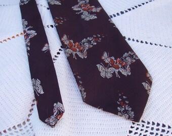 70s Vintage Brown Butterfly Necktie   Butterflies & Flowers Tie   Van Heusen Golden Touch   Encron Polyester