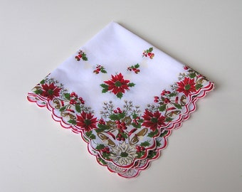 Vintage Christmas Hanky . Holly & Berries . Poinsettias . Bells . Holiday Handkerchief